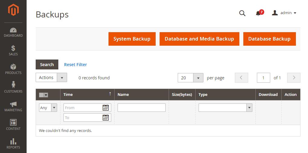 Magento Database Backup